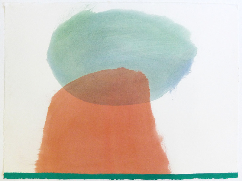 Land Cloud-Hill-Grass / Oil on Arches l'Huile Paper / 22 inches high by 30 inches wide / 2015