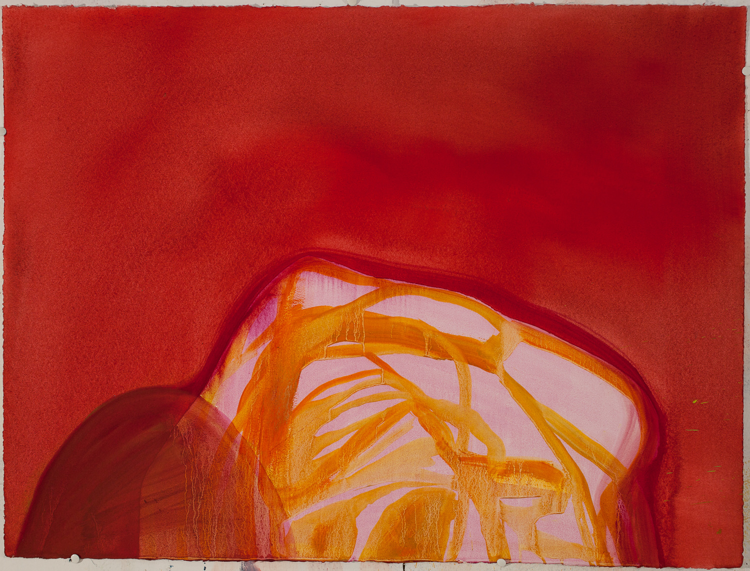 Land Mound-Rock / Oil on Arches l'Huile Paper / 22 inches high by 30 inches wide / 2014