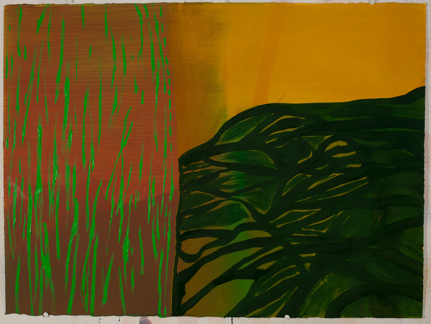 Land Lay Down Tree / oil on arches l'huile paper / 22 inches high by 30 inches wide / 2014