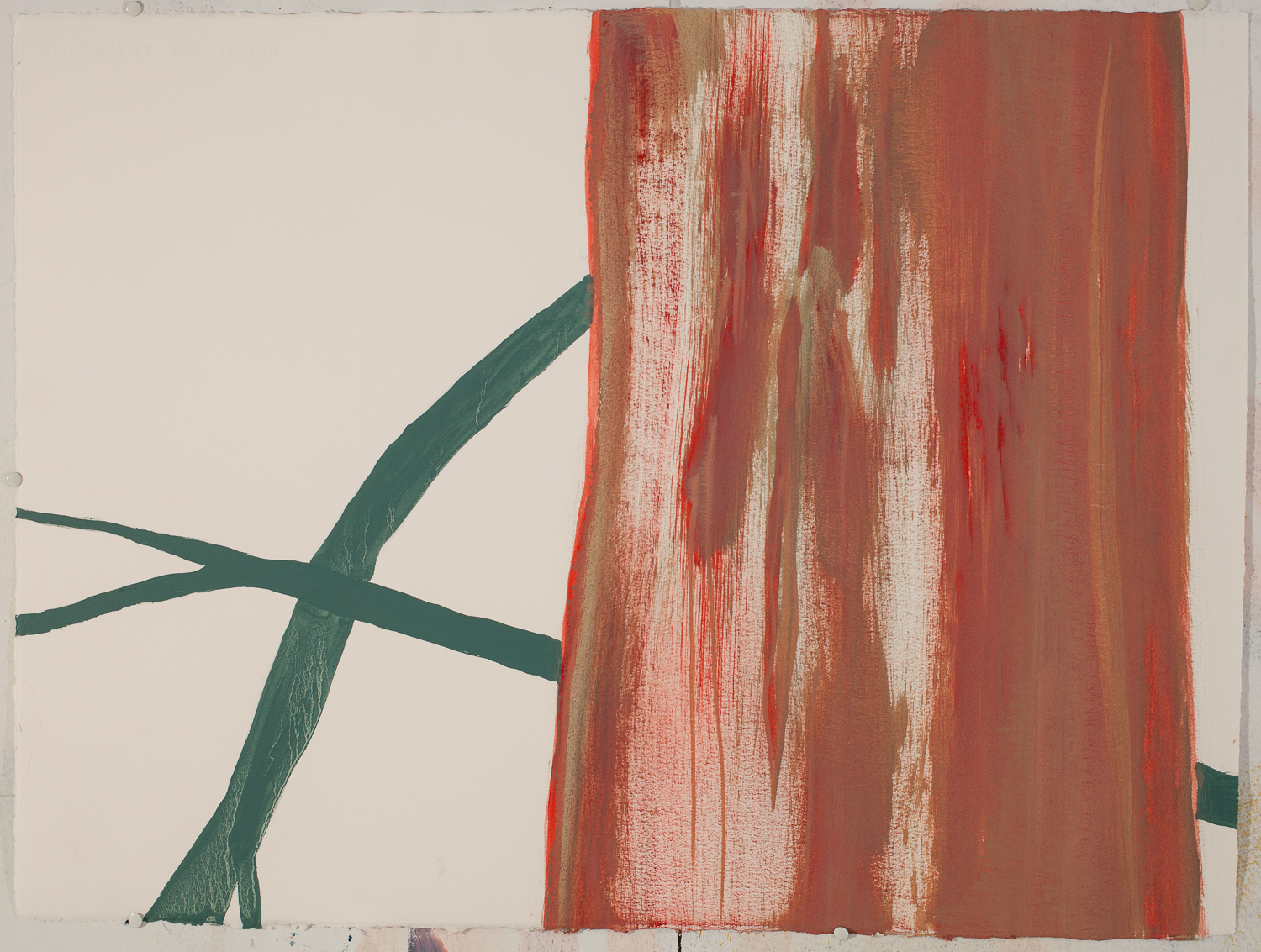 Land Red Tree New / Oil on Arches l'Huile Paper / 22 inches high by 30 inches wide / 2015