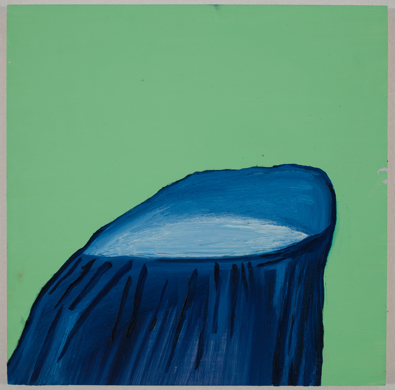 Abstract Green Stump / oil on wood / 10 inches by 10 inches / 2013