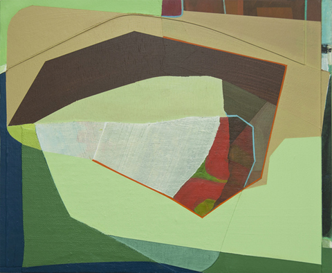 Susan Cantrick 2014-15 acrylic on canvas and ink jet print on paper collaged on wood panel
