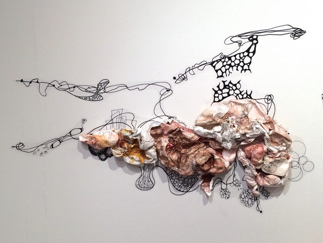 SUSAN GREER EMMERSON Paintings: Wall Sculpture acrylic and ink on cut and molded Tyvek; ink on exhibition film