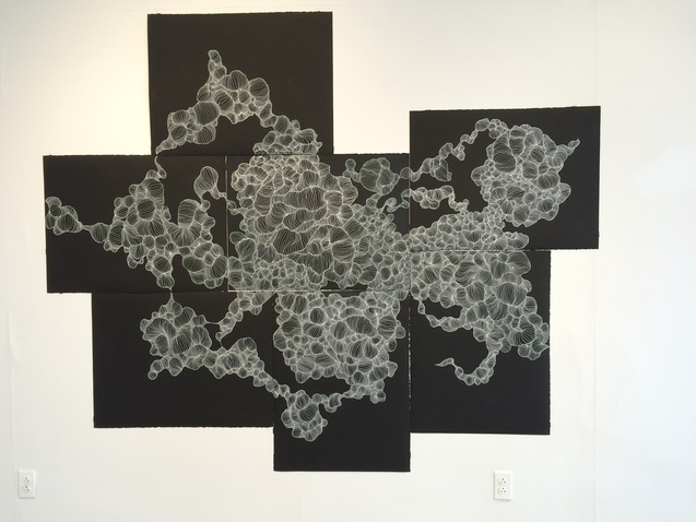 SUSAN GREER EMMERSON Drawings white ink on black paper
