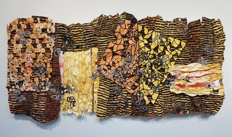 SUSAN GREER EMMERSON Paintings: Wall Sculpture acrylic on cut and molded Tyvek; mixed media