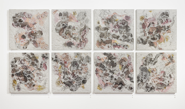 SUSAN GREER EMMERSON Installations ink and charcoal on paper on panel; molded Tyvek overlay