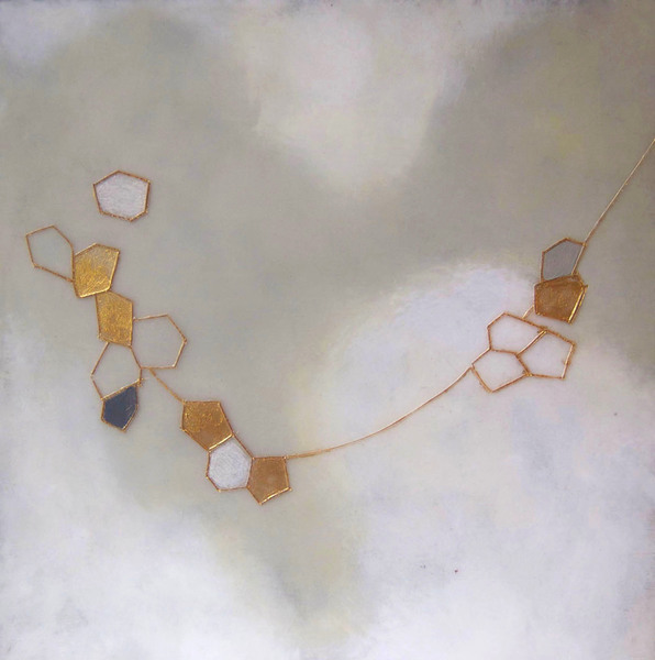 susan freedman gold series paint + encaustic on wood