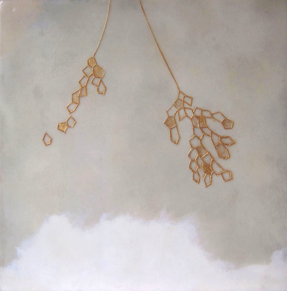 susan freedman gold paint + encaustic on wood