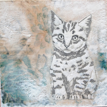 susan freedman pet portraits encaustic + paper + ink