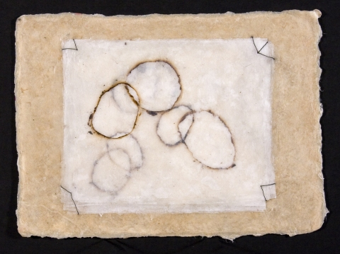 Works on Paper burnt paper, thread, encaustic