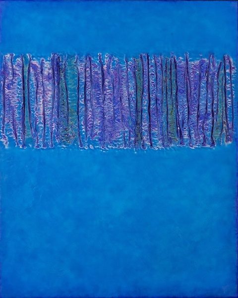Between The Tides silk & encaustic on cradled panel