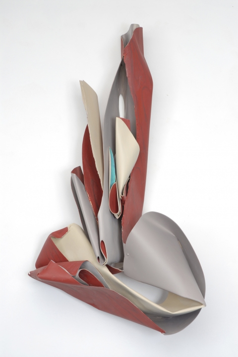 Susan Manspeizer Shell series bent wood, oil crayon