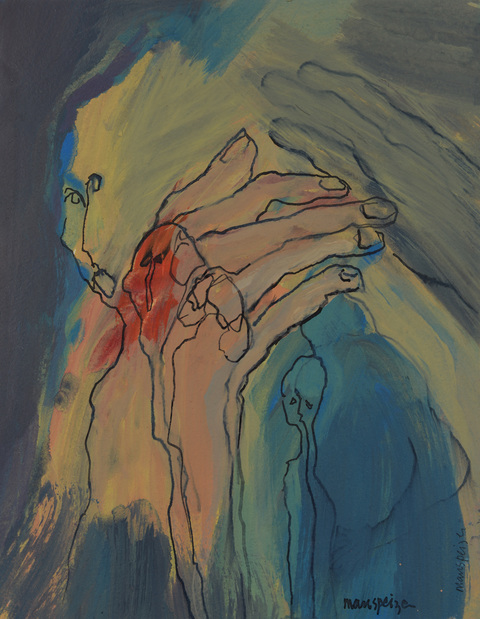 Susan Manspeizer Hands Grasping acrylic and ink on paper