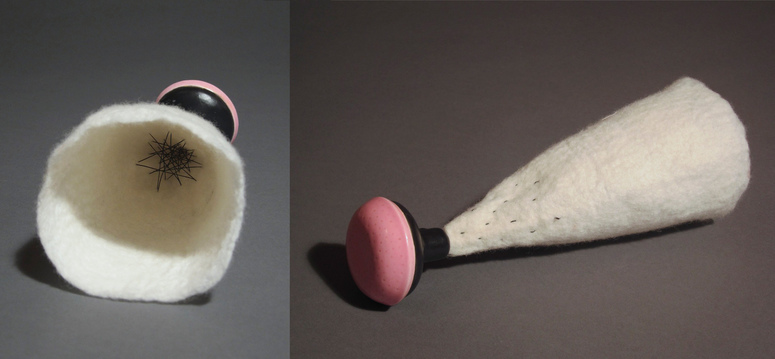 Toyls (toys and tools) ceramic, wool and thread