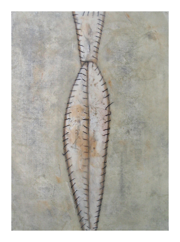 SUZANNA SCOTT Fetishes paper, pencil, gouache, thread, encaustic