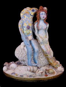 Suzi K. Edwards Sculptures and Miscellaneous Mosaics Porcelain and sea shells with Gold leaf