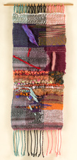 Sylvia Vander Sluis Fiber Work Weaving. Handwoven and collaged by artist, with sewing. Various fibers and ribbon.