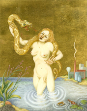 Tabitha Vevers Eden Oil and gold leaf on ivorine