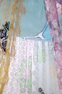 Installation Fabric, swarofsky crystal beads, thread, mixed mediums
