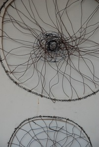 Works-on-paper Steel wire, rust, paper, charcoal