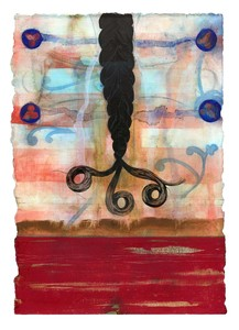 talin megherian Braids gouache, ink, gesso on watercolor paper