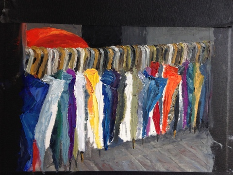 TAMMY FLYNN SEYBOLD Hong Kong Umbrella Movement project Oil on Canvas