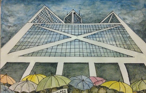 TAMMY FLYNN SEYBOLD Hong Kong Umbrella Movement project Watercolor and Ink on Paper