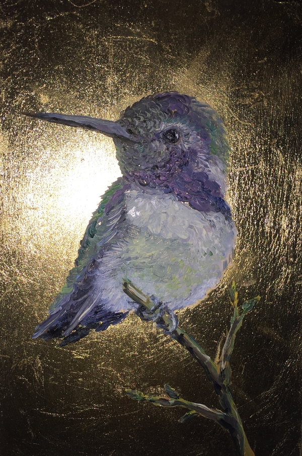 TAMMY FLYNN SEYBOLD Feathered  oil and gold leaf on wood panel