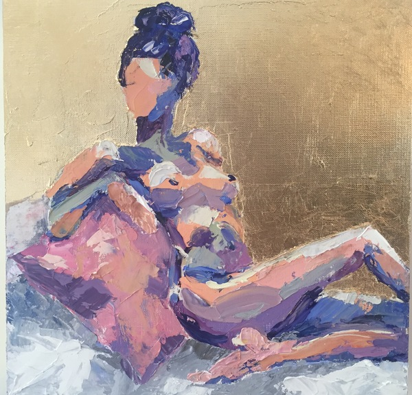 TAMMY FLYNN SEYBOLD Figurative Oil and gold leaf on wooden gallery box