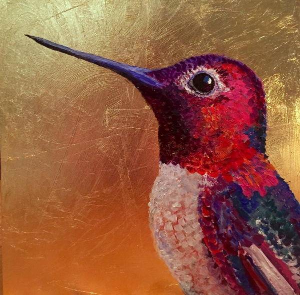 TAMMY FLYNN SEYBOLD Feathered  Oil and gold leaf on deep wood panel