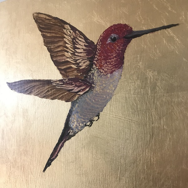 TAMMY FLYNN SEYBOLD Feathered  oil and gold leaf on panel