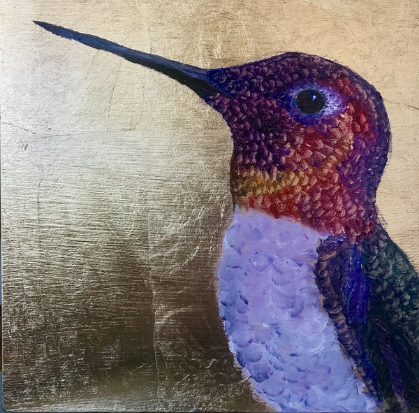TAMMY FLYNN SEYBOLD Feathered  oil and gold leaf on paeel