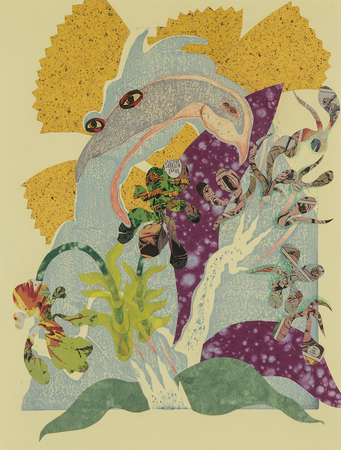 Tammy Nguyen Works on Paper Water-based printed woodblock with collage and colored pencil