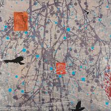 Tanja Softić Migrant Universe acrylic, pigment, chalk on paper mounted on panel