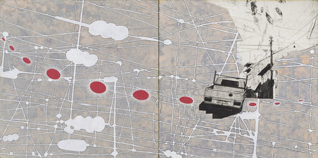 Tanja Softić Works on Paper Archive acrylic, pen, photogravure collage on paper on board