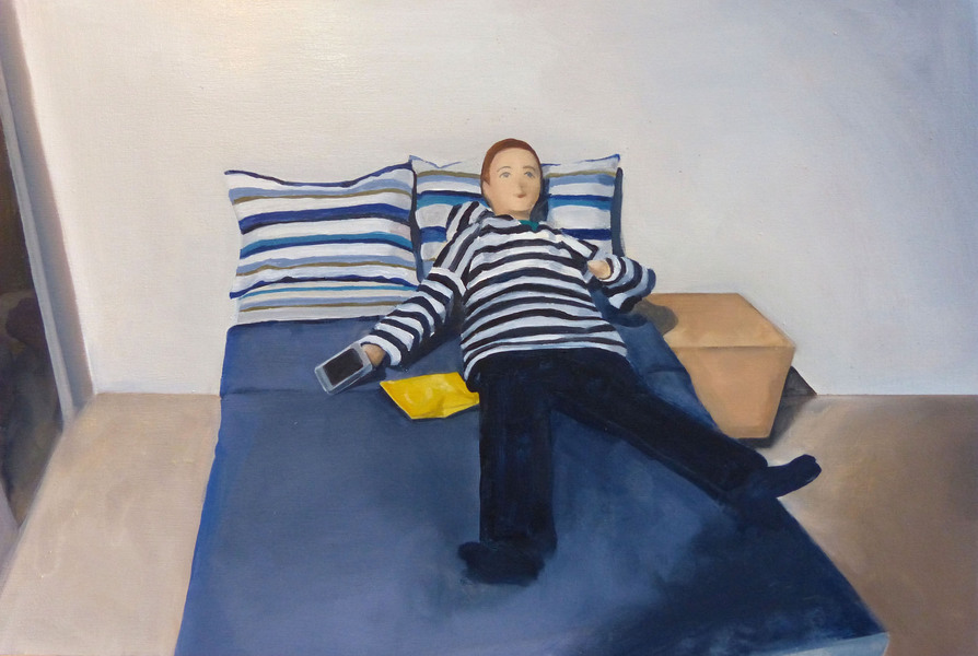 Paintings Man on Bed with Chips