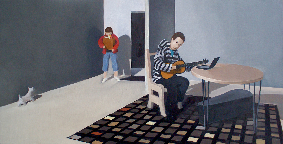 Paintings Man Practicing Guitar