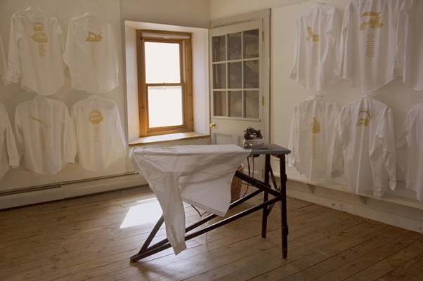 Tatana Kellner IRON 20 dress shirts, silkscreened with visible and invisible ink, automated iron