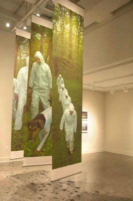 "Tatana Kellner INTO THE WOODS digital prints, each banner 144"" x 30"", drawings of ticks and dead ticks"