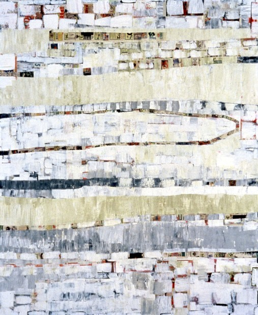 Terri Rolland Migrating Trees 2002 Acrylic and Collage on Canvas