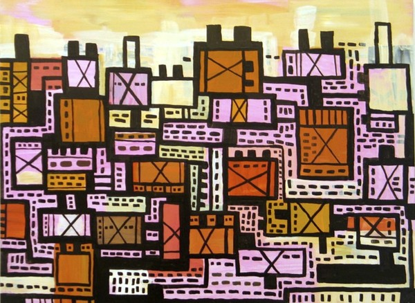 Terri Rolland Wagonbox 2006 Acrylic and ink on panel