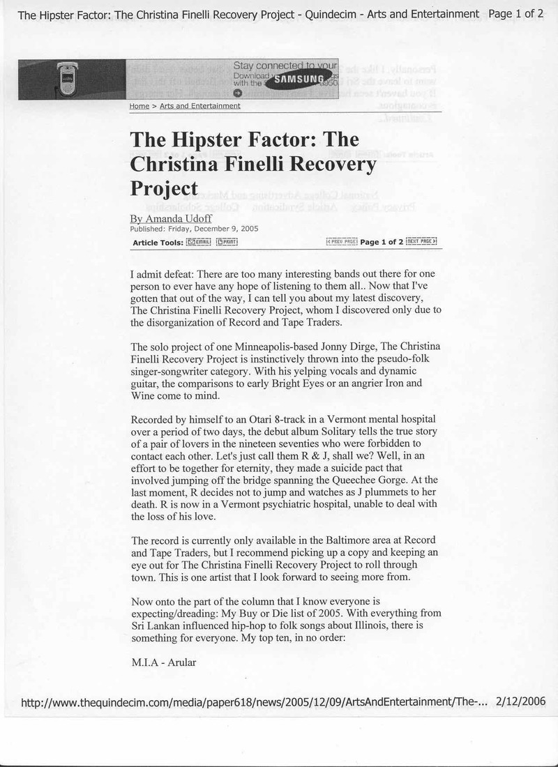 The Christina Finelli Recovery Project The Hipster Factor 2005