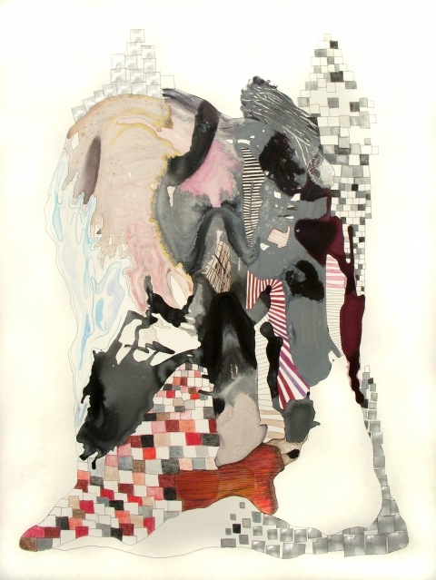 Large Works on Paper Flashe paint, color pencil, ink, collage on Rives de Lin paper