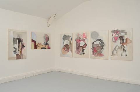 Paintings Installations Flashe paint, gesso, ink and diatomaceous earth, on wood panel
