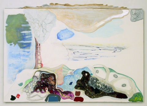 Past Works Flashe paint, color pencil, ink, collage and felt on Rives BFK paper on streched linen
