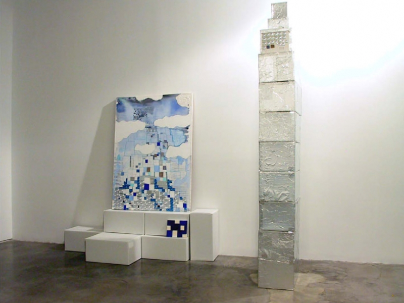 "Installations of Exhibitions ""Stacked Blue with Tower"""