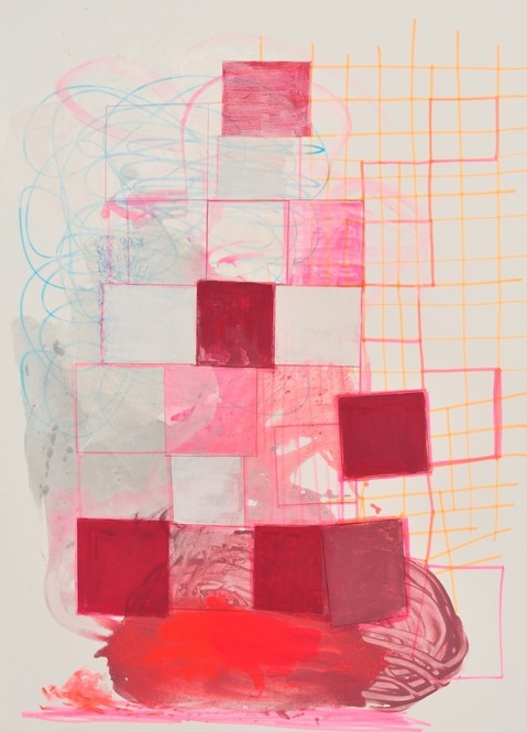 Paintings on Paper and Linen Red Squares