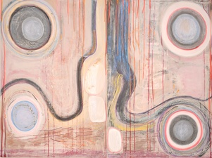 Theresa Hackett Current paintings  Diatomaceous earth, gesso, Flashe paint, acrylic, marker,  on wood panel.