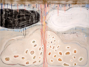 Theresa Hackett Current paintings  Diatomaceous earth, gesso, Flashe paint, acrylic, marker, PVA, clay on wood panel.