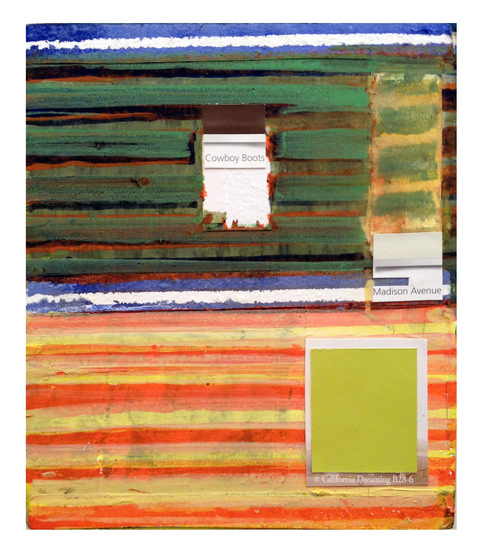 THE THIRD BARN BOX WORK acrylic and color swatches on wooden box